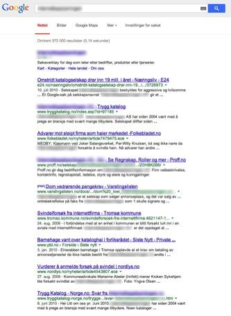 Negative oppføringer i Google
